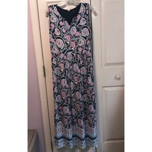 Talbots Maxi Dress Multi Colored Paisley Floral